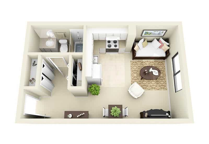 Gaslight Apartments studio style a floor plan