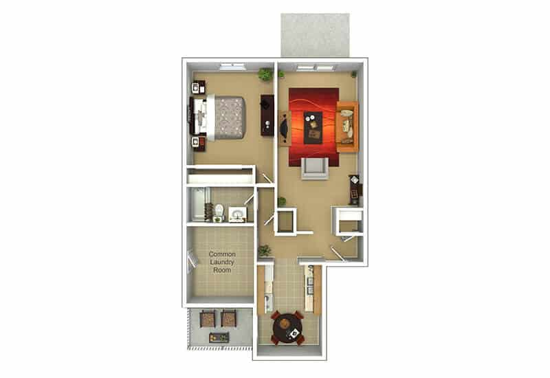 Grecian Terrace Apartments 1 bedroom style a floor plan