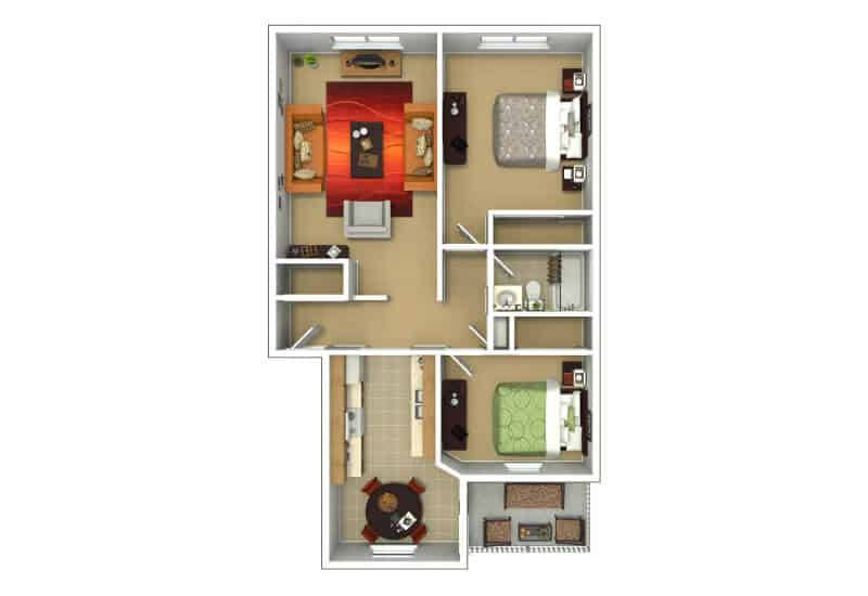 Grecian Terrace Apartments 2 bedrooms style a floor plan