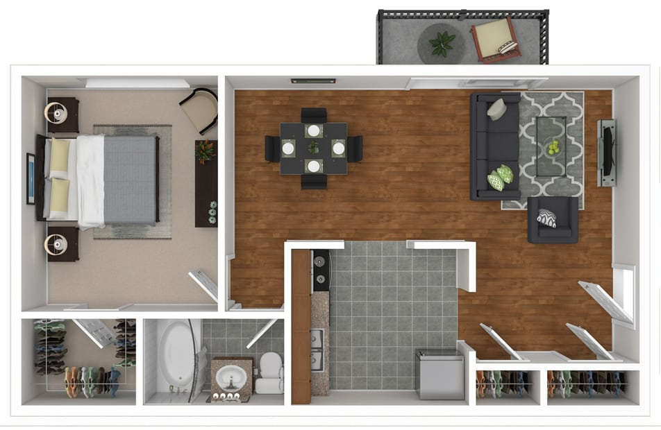 Saratoga Garden Apartments 1 bedroom style a floor plan