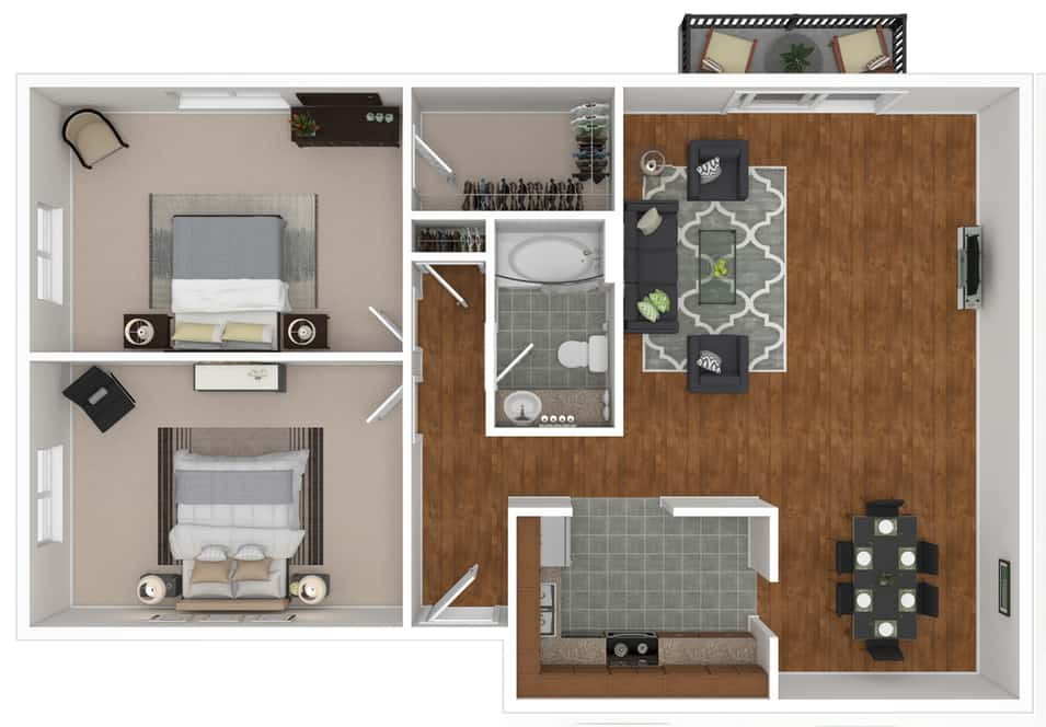 Saratoga Garden Apartments 2 bedrooms style b floor plan