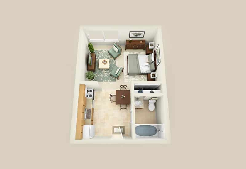 Sherwood Terrace studio style a floor plan