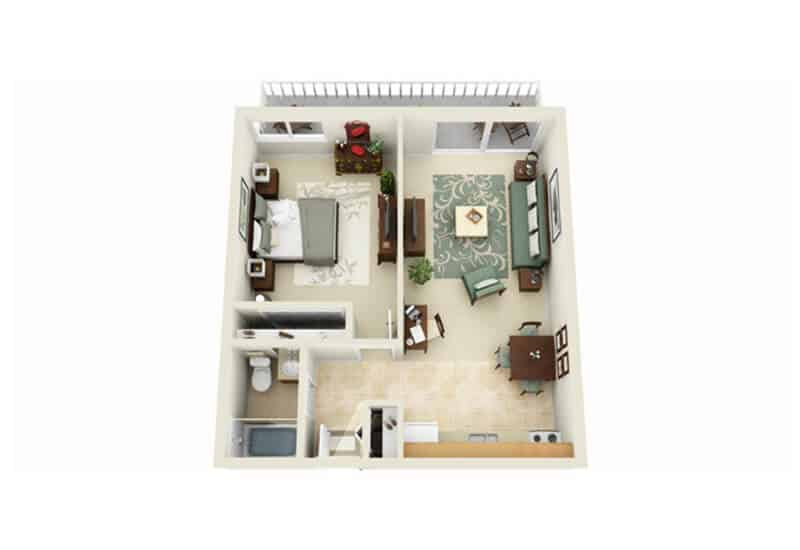 Skidmore Apartments 1 bedroom style a floor plan