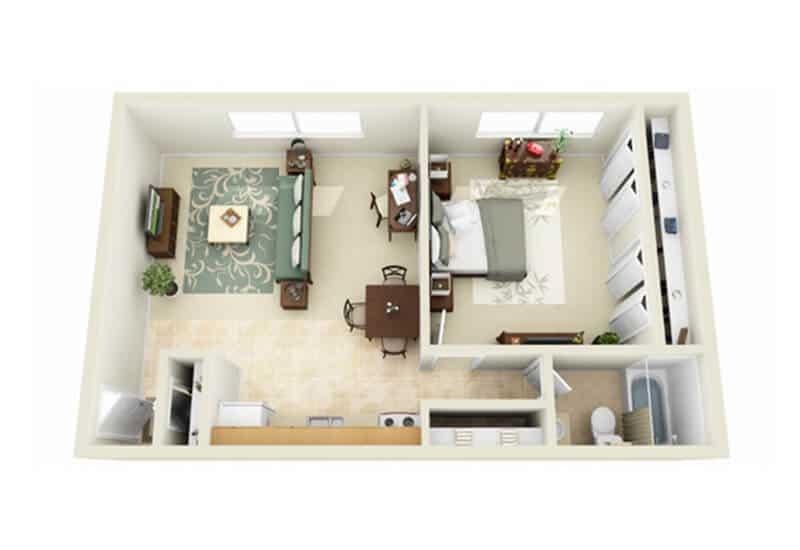 Skidmore Apartments 1 bedroom style b floor plan