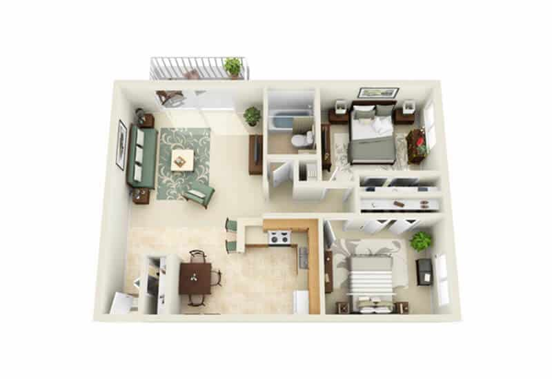 Skidmore Apartments 2 bedrooms style a floor plan