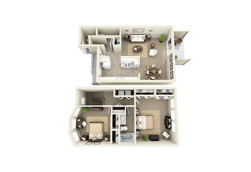 Stepping Stone Townhouses 2 bedrooms style a floor plan