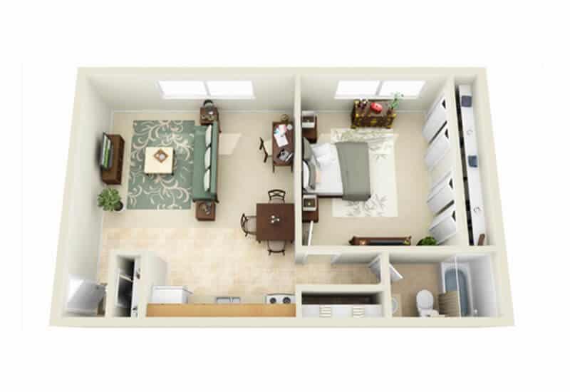 Whitmore Court 1 bedroom style b floor plan