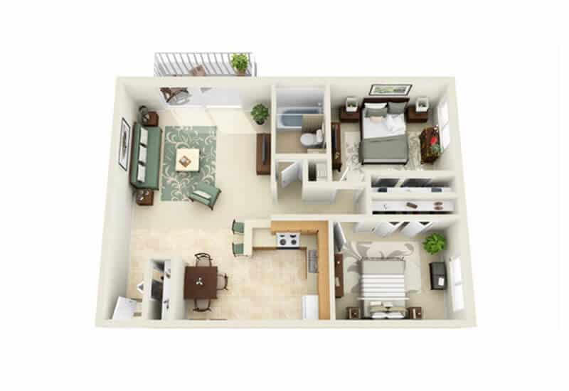 Whitmore Court 2 bedrooms style a floor plan