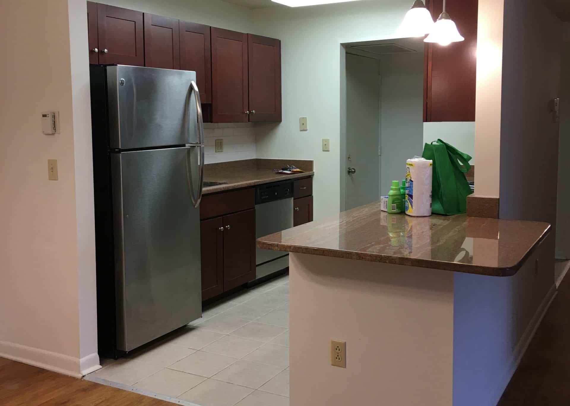 kitchen island and kitchen