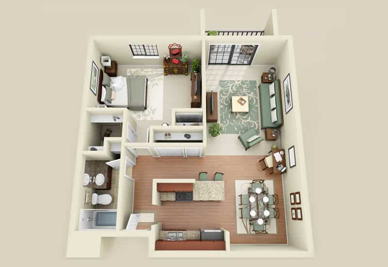 Heritage 222 1 bedroom style a floor plan
