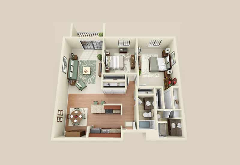 Heritage 222 2 bedrooms style a floor plan