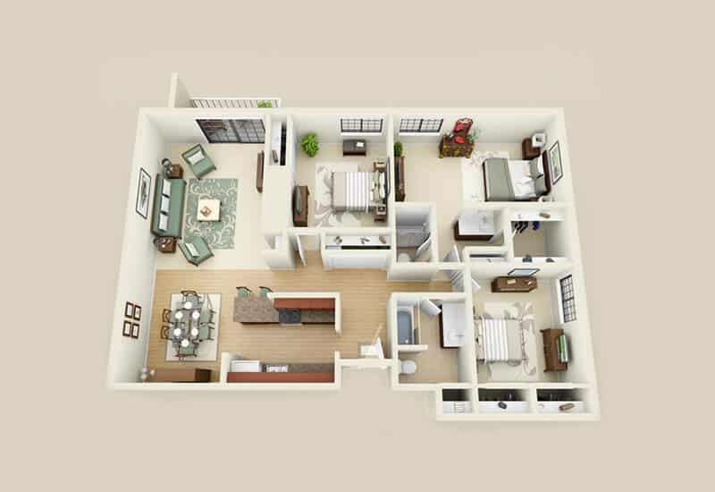 Heritage 222 3 bedrooms style a floor plan