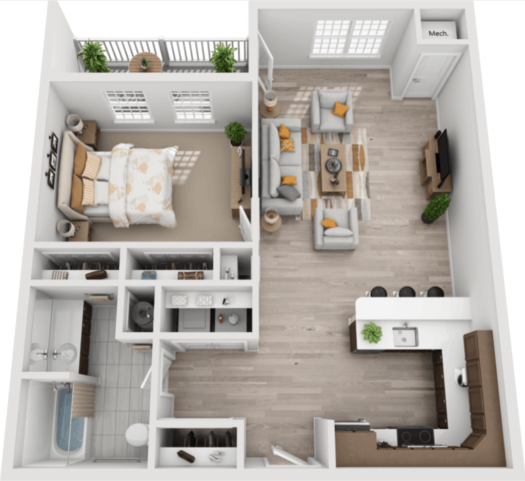 Schuyler Commons 1 bedroom style a floor plan
