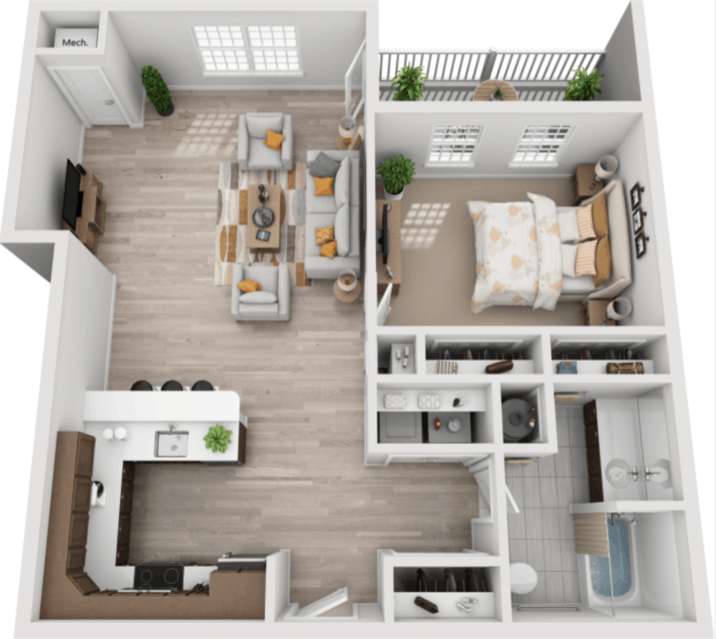 Schuyler Commons 1 bedroom style a1 floor plan