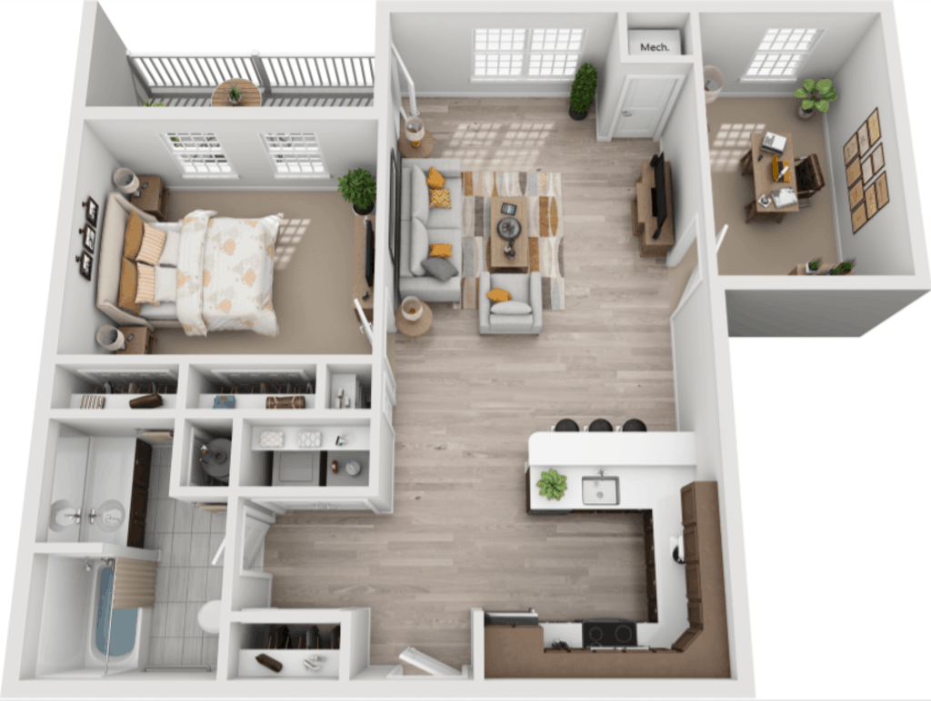 Schuyler Commons 1 bedroom style ad1 floor plan
