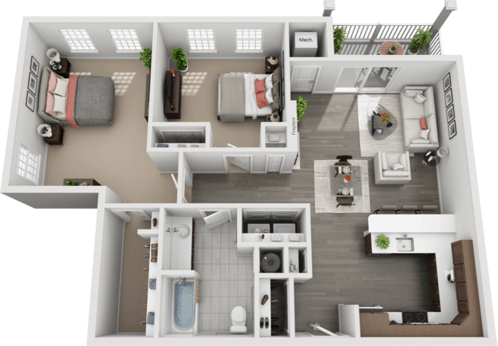 Schuyler Commons 2 bedrooms style b floor plan