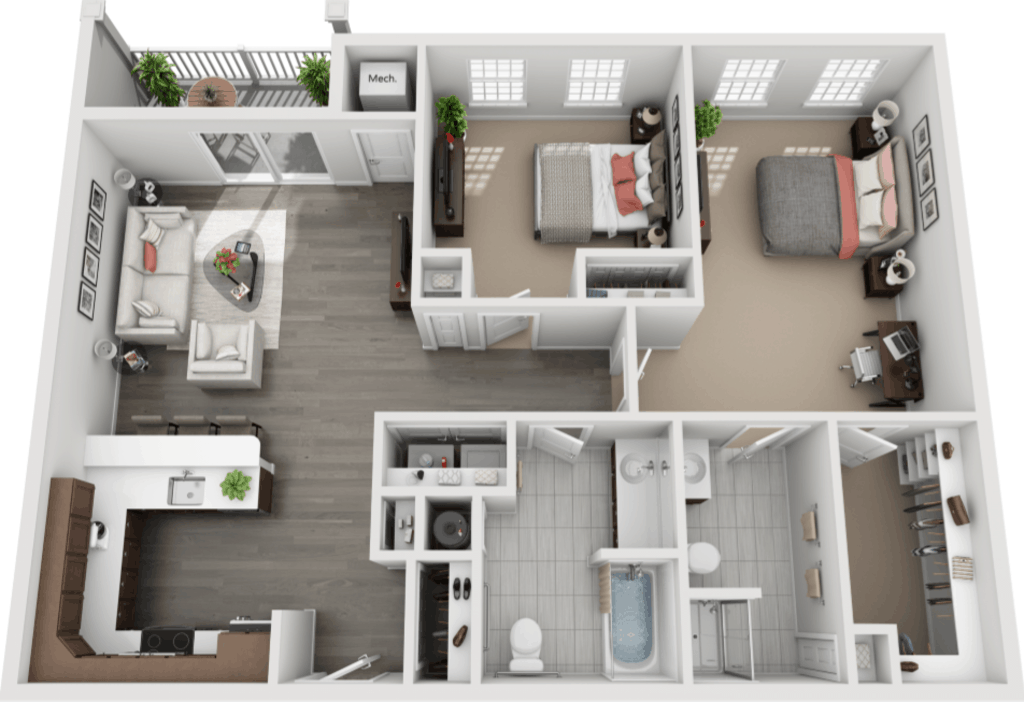 Schuyler Commons 2 bedrooms style b1 floor plan