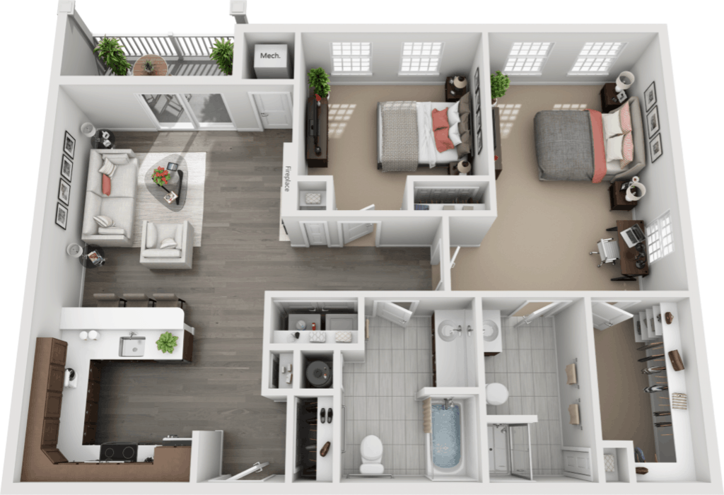 Schuyler Commons 2 bedrooms style b2 floor plan