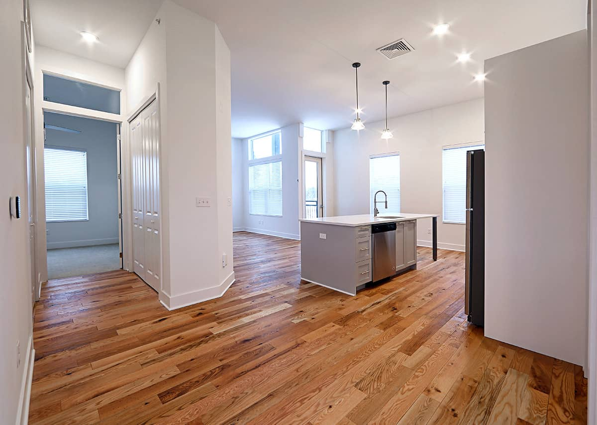 Brand new units with solid wood flooring
