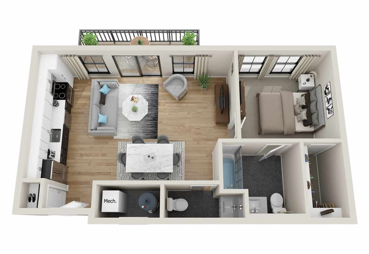 Broadway 385 1 Bedroom floor plan