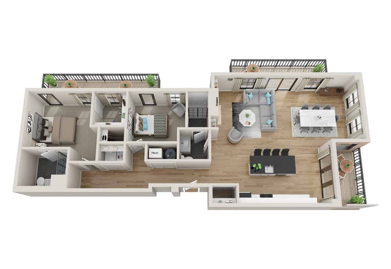 Broadway 385 2 Bedroom floor plan