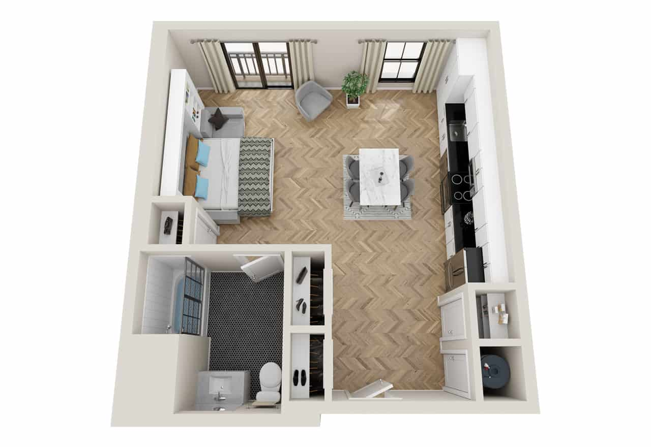 Broadway 385 Studio floor plan