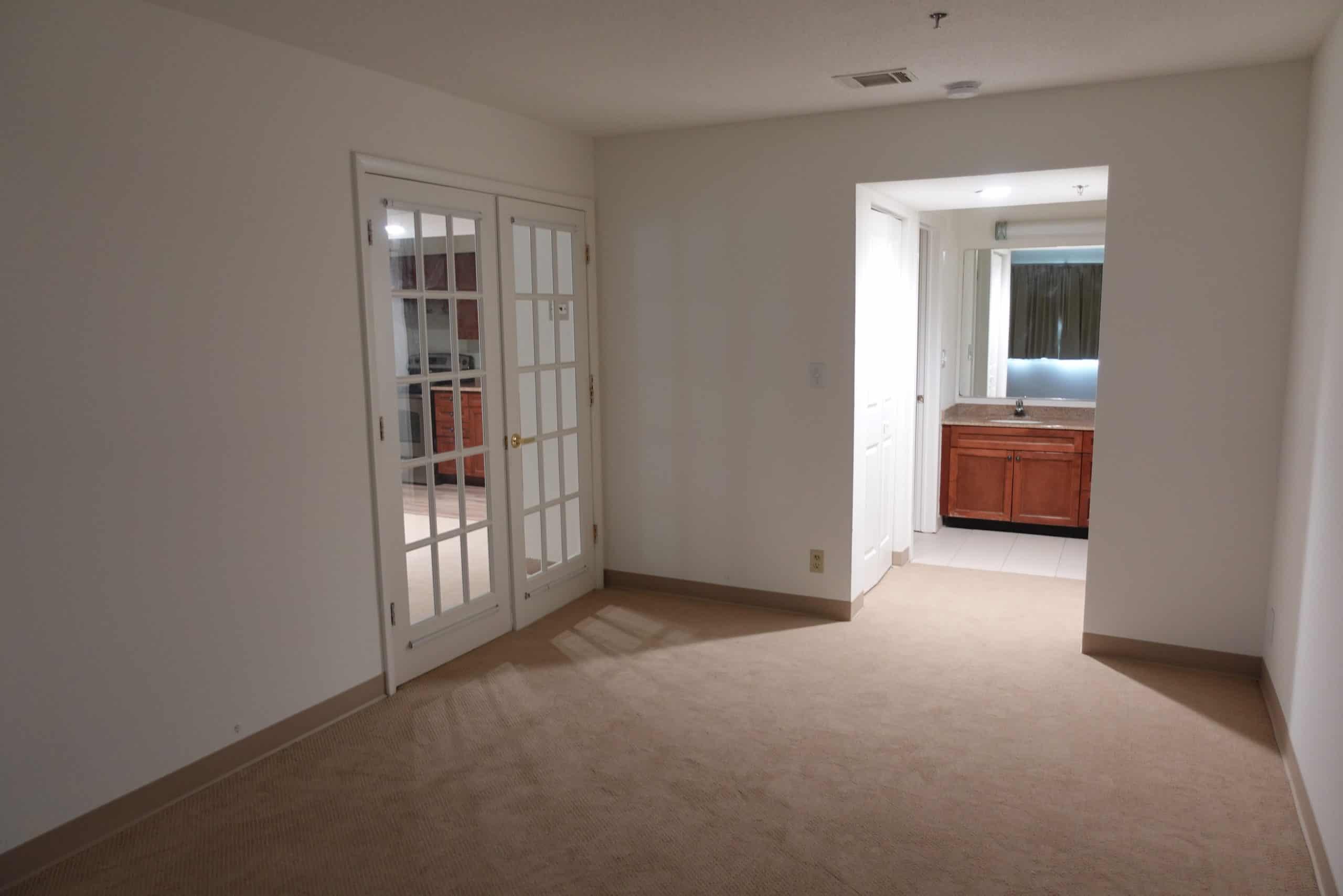 empty bedroom and bathroom