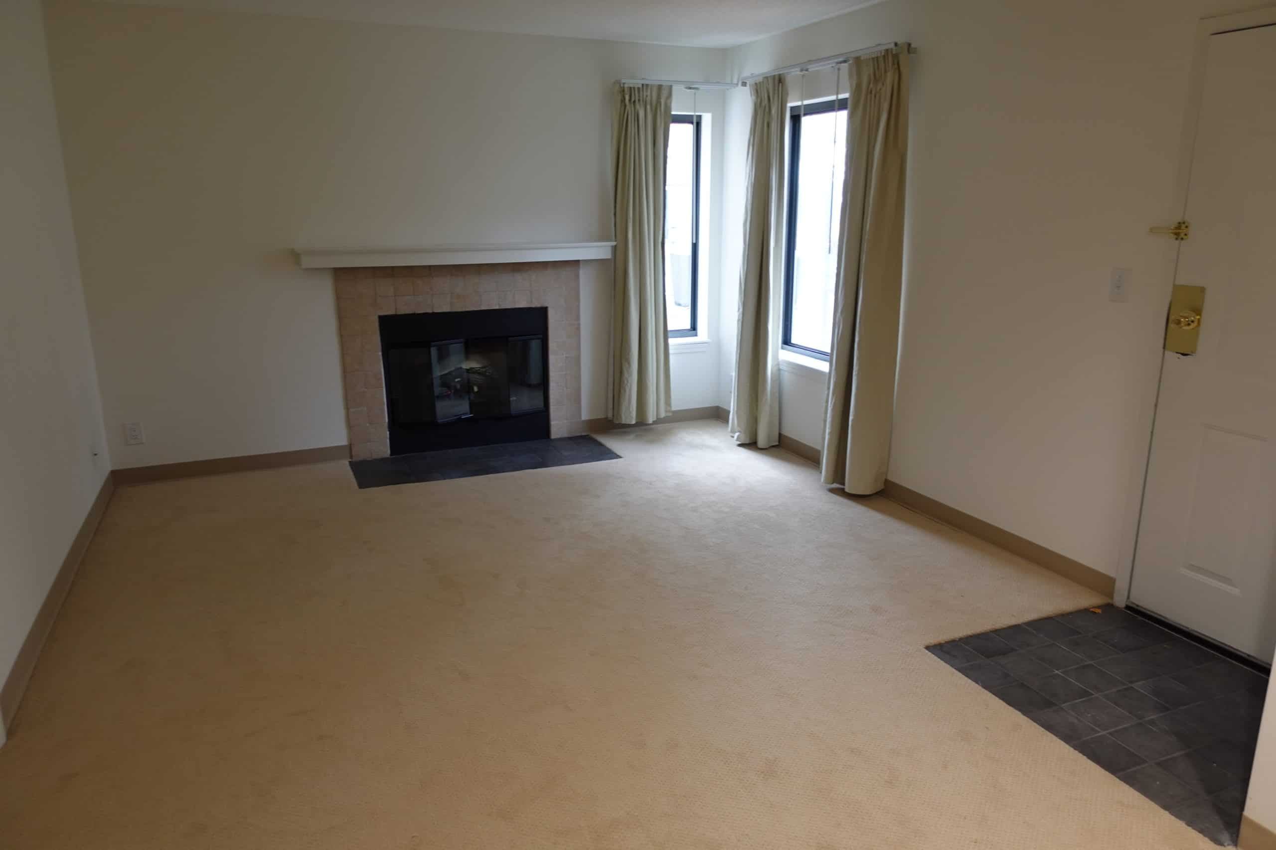 empty living room and fire place