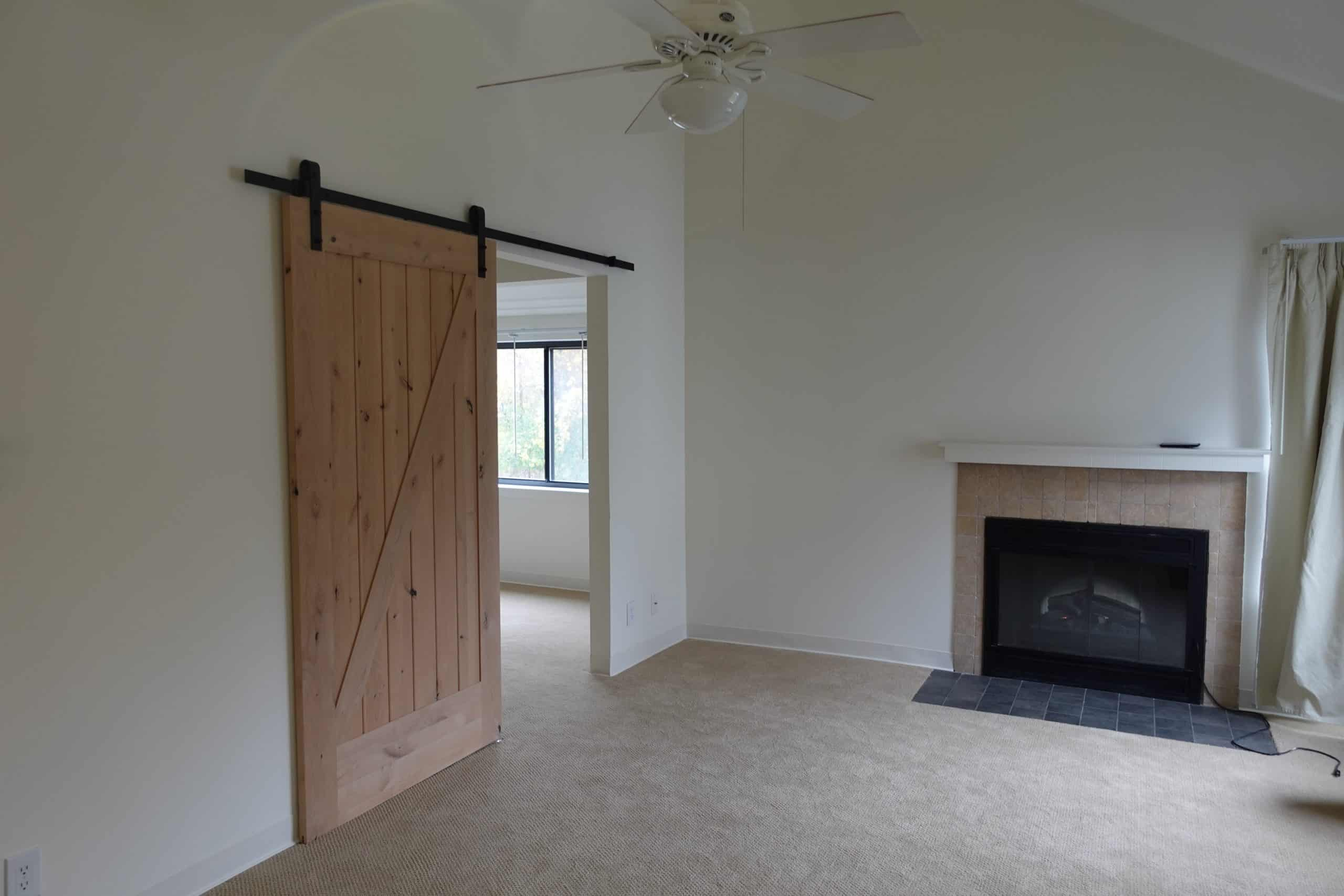 fire place and sliding barn door