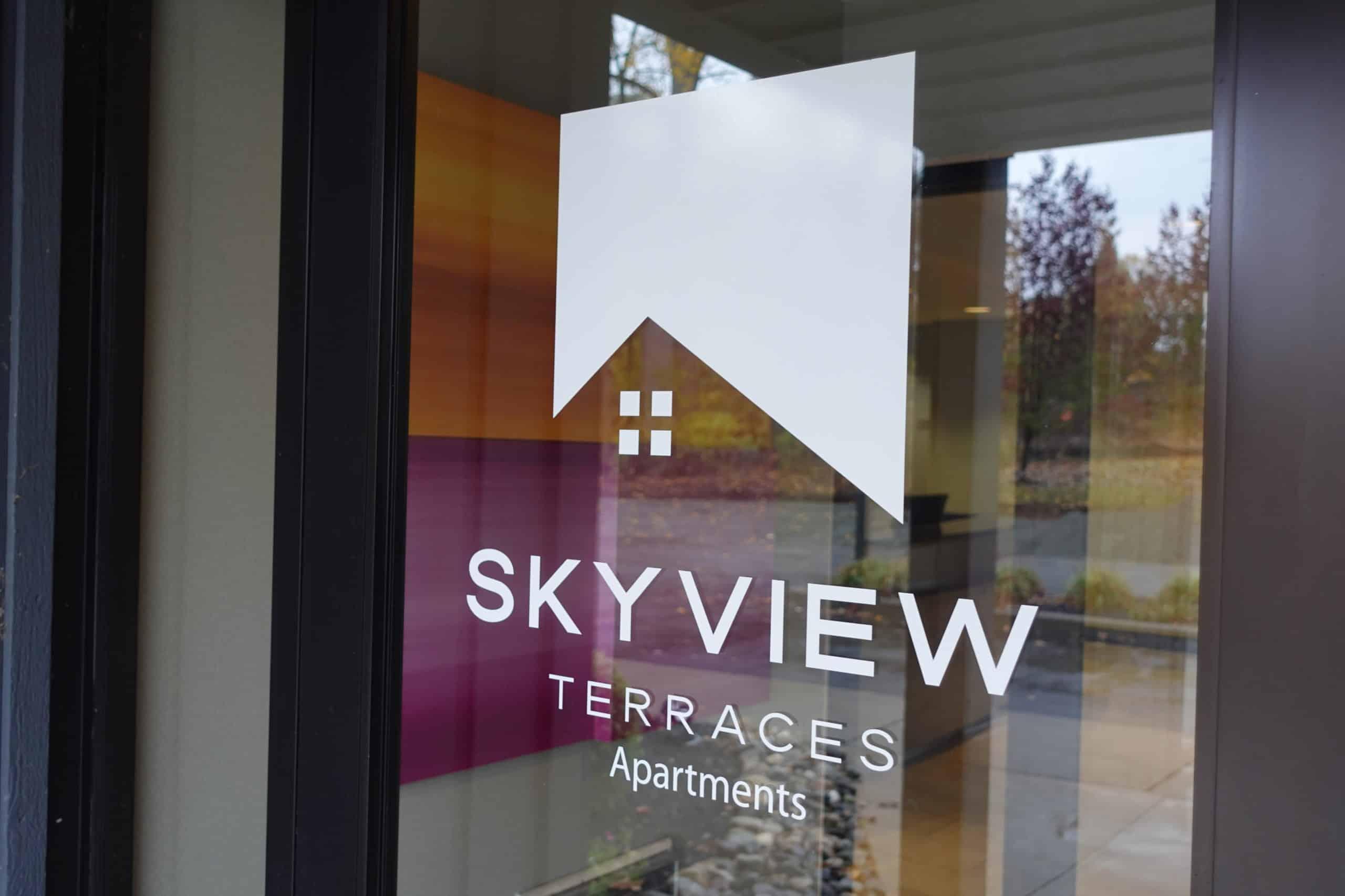 skyview terraces logo on door