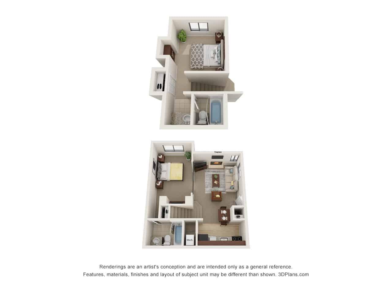 2 Bedroom - 2 Floors